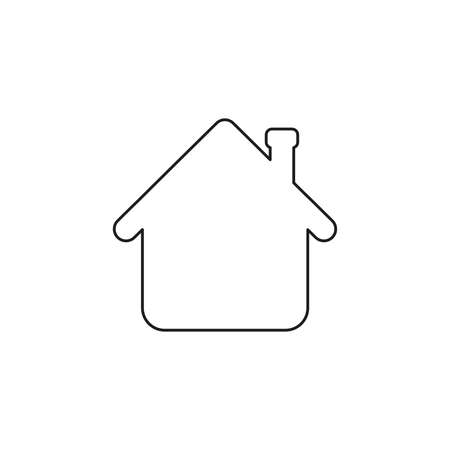 Vector illustration icon concept of house arrow up. Black outlines.