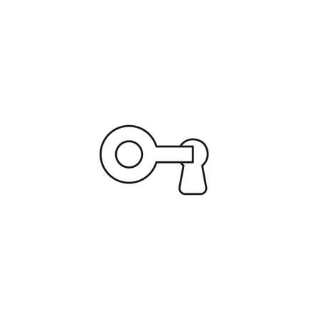 Vector illustration icon concept of key into keyhole, lock or unlock. Black outlines.