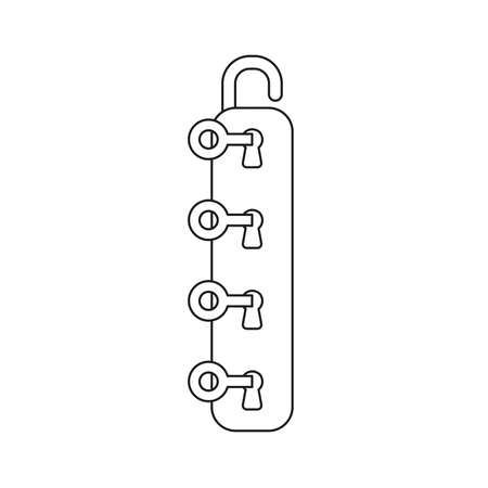 Vector illustration icon concept of four keys into four keyholes and unlock padlock. Black outlines.