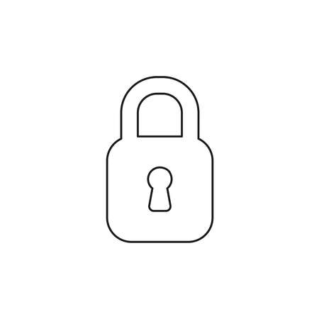 L'icône d'illustration vectorielle, concept de cadenas fermé. Contours noirs.