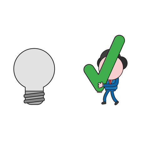 Vector illustration businessman character walking and carrying check mark to light bulb icon. Color and black outlines.