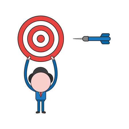 Vector illustration businessman character holding up bulls eye with dart. Color and black outlines.