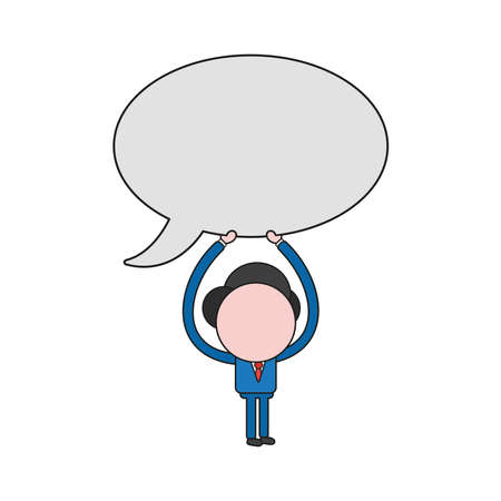 Vector illustration businessman character holding up blank speech bubble icon. Color and black outlines.