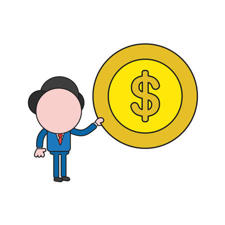 Vector illustration businessman character holding dollar money coin. Color and black outlines. Standard-Bild - 116930316