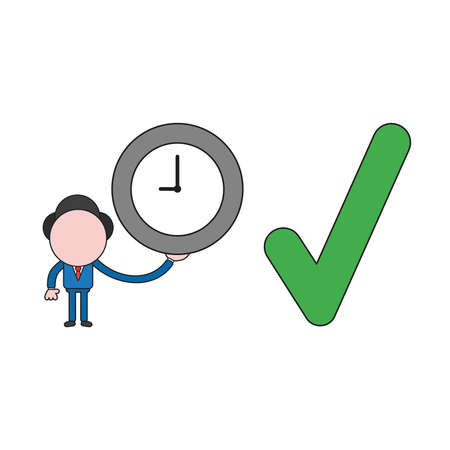 Vector illustration businessman character holding clock with check mark icon. Color and black outlines.