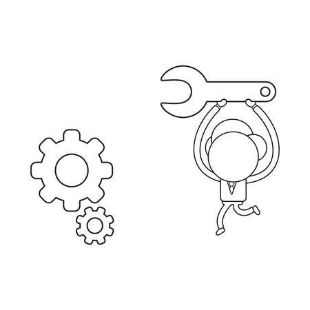 Vector illustration businessman character running and carrying spanner to repair gears. Black outline.