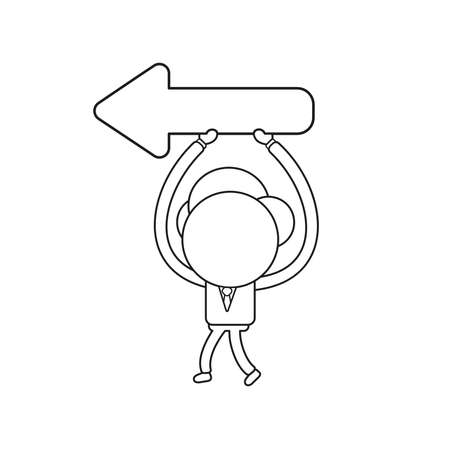 Vector illustration businessman character walking and holding arrow showing left way. Black outline. Banque d'images - 126147659