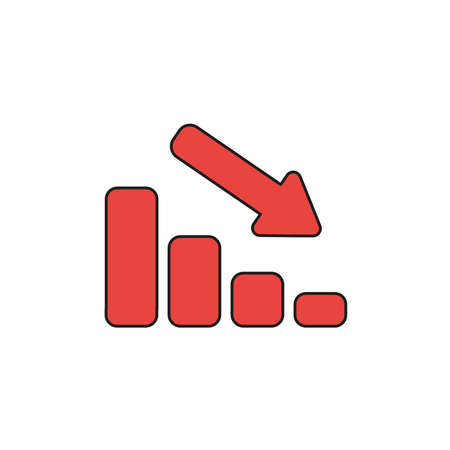 Vector illustration icon concept of sales bar graph moving up. Colored and black outlines.