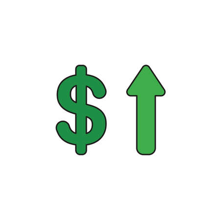 Vector illustration icon concept of dollar with arrow moving up. Colored and black outlines.