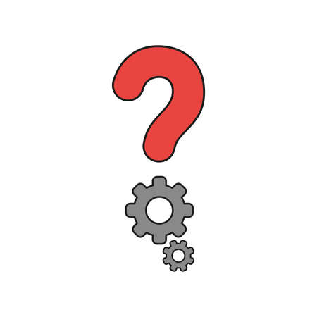 Vector illustration icon concept of question mark with gears. Colored and black outlines.