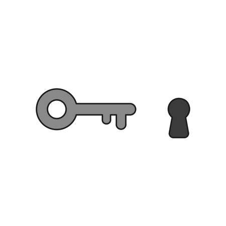 Vector illustration icon concept of key and keyhole. Colored and black outlines.