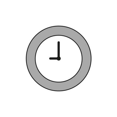 Vector illustration icon concept of clock time. Colored and black outlines.