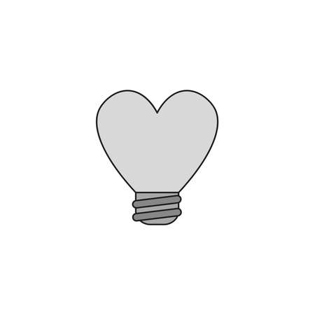 Vector illustration icon concept of heart shaped light bulb. Colored and black outlines.