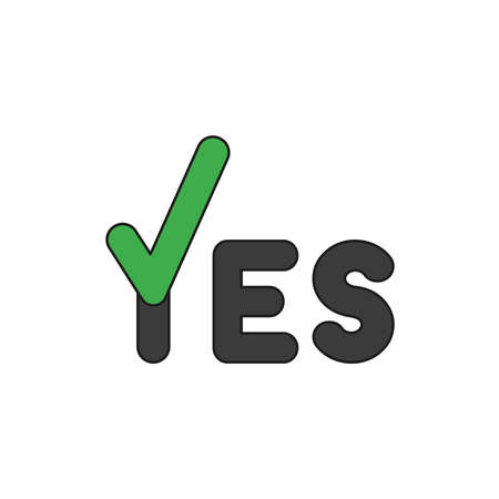 Vector illustration icon concept of yes word with check mark. Colored and black outlines.