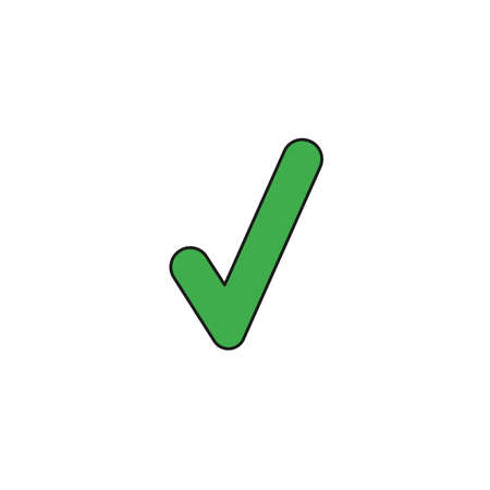 Vector illustration icon concept of check mark. Colored and black outlines. 向量圖像