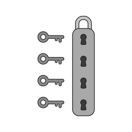Vector illustration icon concept of padlock with four keyholes and keys. Colored and black outlines.