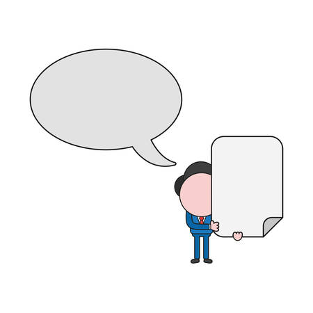Vector illustration businessman character holding blank paper with speech bubble. Color and black outlines.