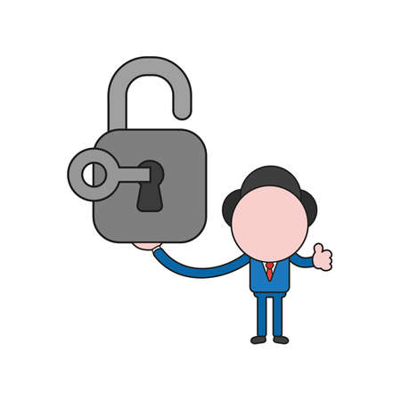 Vector illustration businessman character holding open padlock with key and showing thumbs up. Color and black outlines.