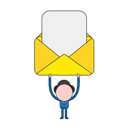 Vector illustration businessman character holding up open envelope with blank paper. Color and black outlines.