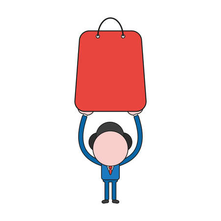 Vector illustration businessman character holding up shopping bag. Color and black outlines.