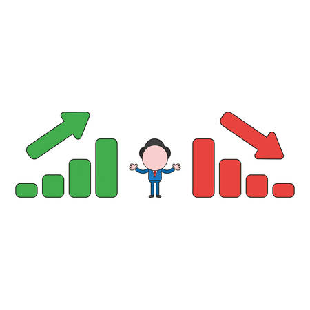 Vector illustration businessman character between sales bar charts moving up and down. Color and black outlines.
