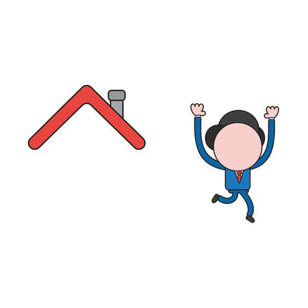 Vector illustration businessman character running away from house roof. Color and black outlines. Illustration