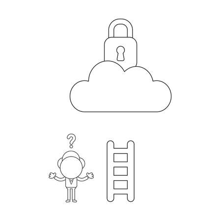 Vector illustration confused businessman character cannot reach padlock on cloud with short wooden ladder. Black outline.