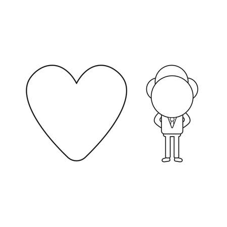 Vector illustration businessman character with heart icon. Black outline.