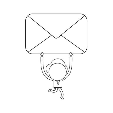 Vector illustration businessman character running and holding up closed mail envelope. Black outline.