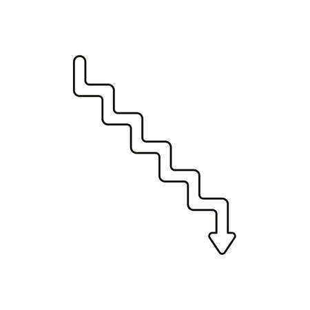 Flat design style vector illustration concept of line stairs symbol icon with arrow pointing down on white background. Black outlines.