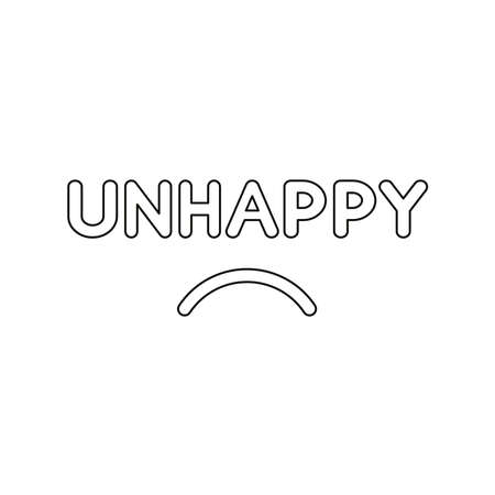 Flat design style vector illustration concept of unhappy text with sulking mouth on white background. Black outlines.