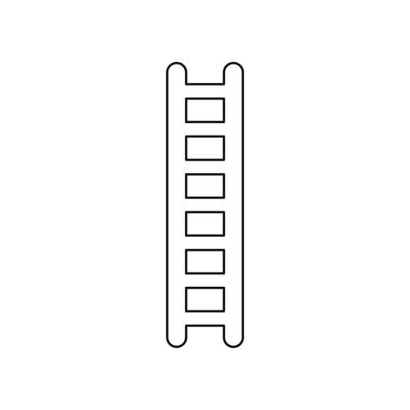 Flat design style vector illustration of wooden ladder symbol icon on white background. Black outlines.