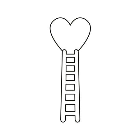 Flat design style vector illustration concept of climb to heart with wooden ladder symbol icon on white background. Black outlines.
