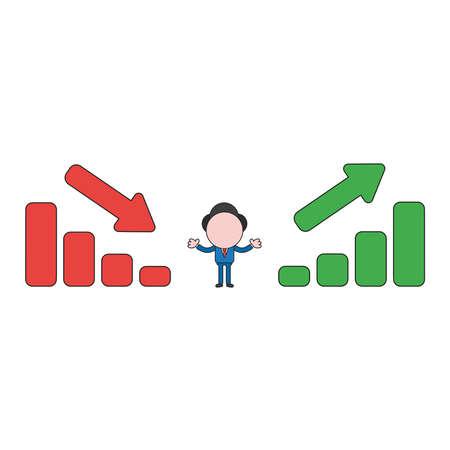 Carácter de empresario de ilustración vectorial entre gráficos de barras de ventas moviéndose hacia arriba y hacia abajo. Contornos en color y negro.