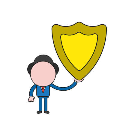 Vector illustration businessman character holding guard shield. Color and black outlines.