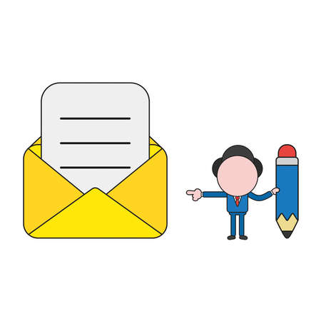 Vector illustration businessman character holding pencil and pointing open envelope with written paper. Color and black outlines.  イラスト・ベクター素材