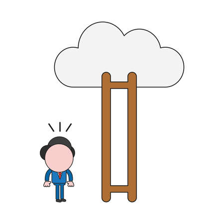 Vector illustration businessman character looking wooden ladder with missing steps to reach cloud. Color and black outlines.