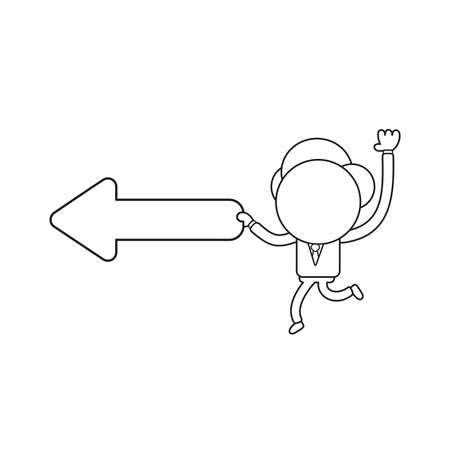 Vector illustration businessman character running and carrying arrow moving left. Black outline.