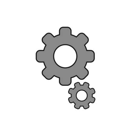 Flat design style vector illustration of gears symbol icon on white background. Colored, black outlines.