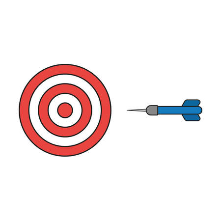 Flat design style vector illustration concept of bullseye with dart icon on white background. Colored, black outlines.
