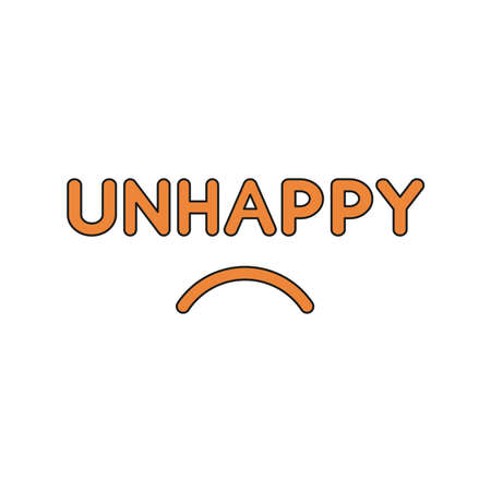 Flat design style vector illustration concept of unhappy text with sulking mouth on white background. Colored, black outlines. Stock fotó - 125799601