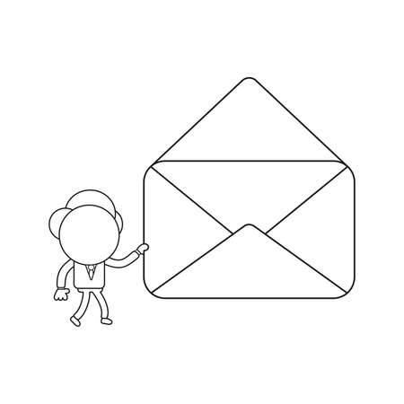 Vector illustration businessman character walking and holding open empty mail envelope. Black outline. 矢量图像
