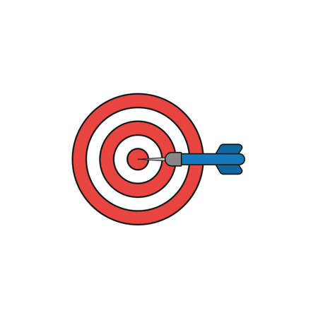 Flat design style vector illustration concept of bullseye with dart icon in the center on white background. Colored, black outlines.