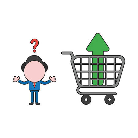 Vector illustration confused businessman character with arrow moving up inside shopping cart. Color and black outlines.