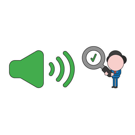 Vector illustration businessman character holding magnifying glass with check mark to sound on icon. Color and black outlines.