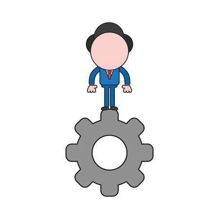 Vector illustration businessman character standing on gear. Color and black outlines.