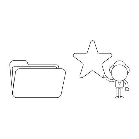 Vector illustration businessman character holding star to open file folder. Black outline.