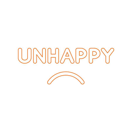 Flat design style vector illustration concept of unhappy text with sulking mouth on white background. White and colored outlines. Illusztráció