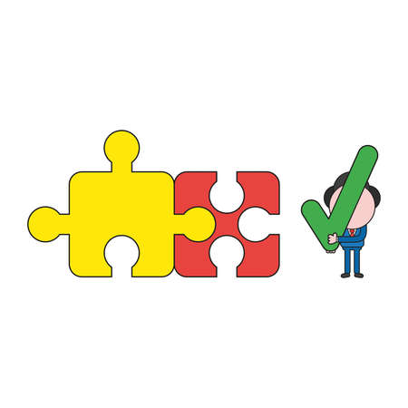 Vector illustration businessman character with two connected jigsaw puzzle pieces and holding check mark. Color and black outlines. Ilustrace