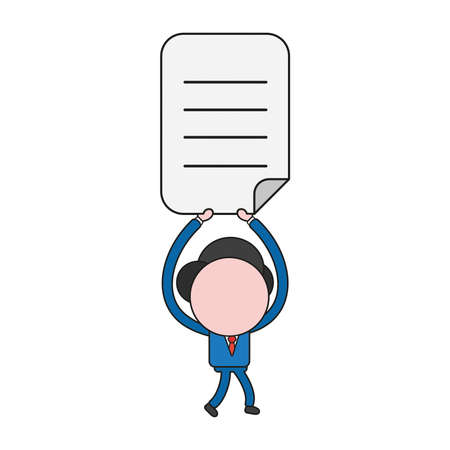 Vector illustration businessman character walking and holding up written paper. Color and black outlines. Illustration